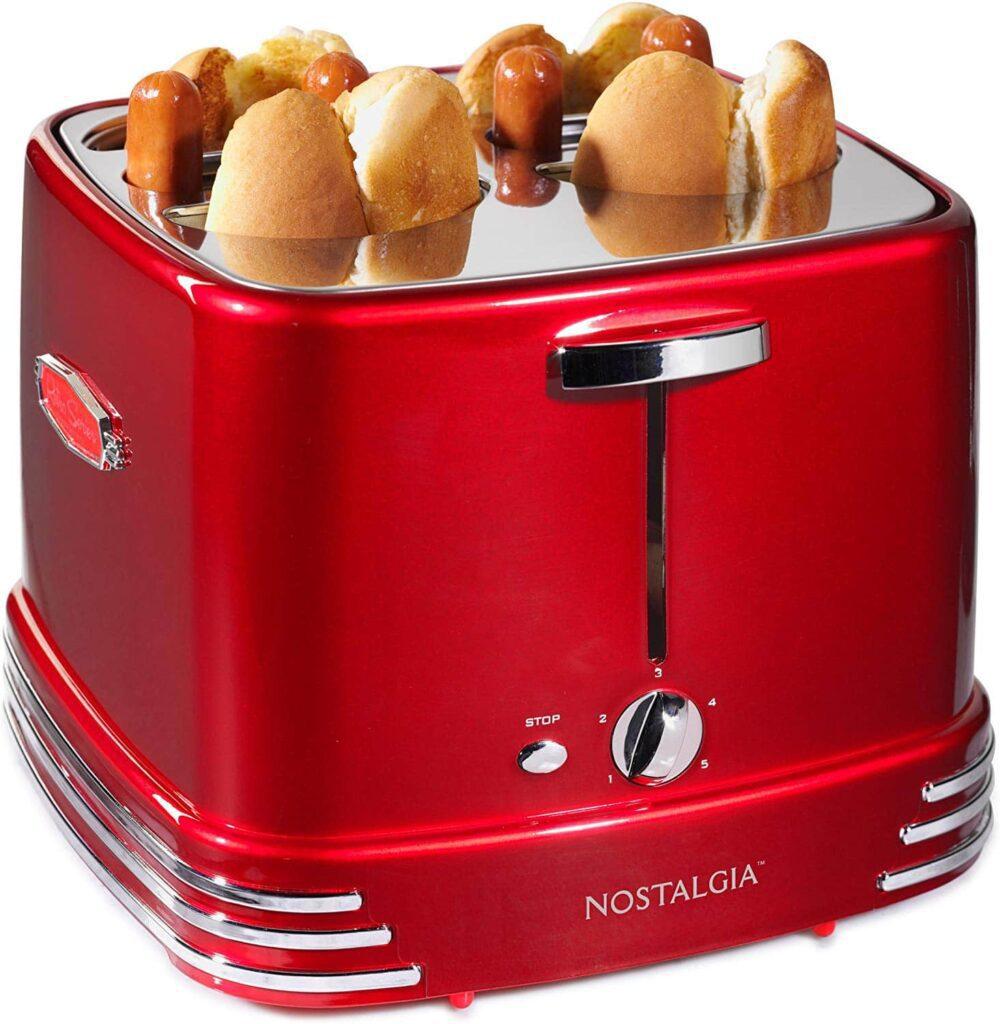 Nostalgia Hot Dog Pop-up Toaster with Mini Tongs